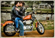 Untouchable's Professional Photographers showcase your personality  in your engagement photos! #motorcycle #love  #NJWeddingPhotography   #UntouchableEntertainment