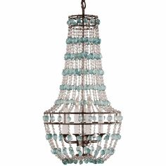 WANT!!! Seaglass and Pewter Chandelier
