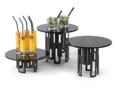 food Risers with warmers | ... -SM127-SM126-Black-Steel-Round-Risers-+-Black-Round-Glass-Food.jpg