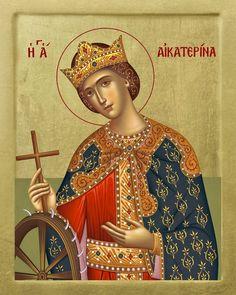 Katherine of Alexandria Byzantine Icons, Byzantine Art, Catholic Art, Religious Art, Monastery Icons, St Catherine Of Alexandria, All Saints Day, Russian Orthodox, Orthodox Icons