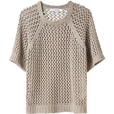 Étoile Isabel Marant Acan Open Knit Pullover ($223) ❤ liked on Polyvore featuring tops, sweaters, shirts, t-shirts, cotton crewneck sweater, collared sweater, crew neck pullover sweater, cotton shirts and crew-neck shirts