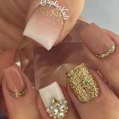 Nude nails with sparkles
