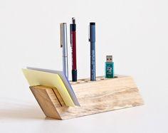 Desk Organizer Salvaged Wood Pen Holder Modern por lessandmore