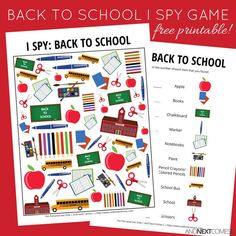 Free back to school themed I Spy game for kids