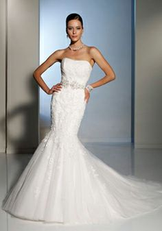 Embroidery Beaded Natural Waist Court Train Trumpet Tulle Wedding Dress picture 1