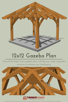 This 12×12 timber frame gazebo plans will create a beautiful structure to enhance your landscaping. The 8 in 12 pitch hip roof with its jack rafters creates a wonderful sense of stature for this petite frame. Gazebo Plans, 12x12 Gazebo, Meet Locals, Hip Roof, Home Printers, Sit Back, Home Reno, Pitch, Outdoor Spaces