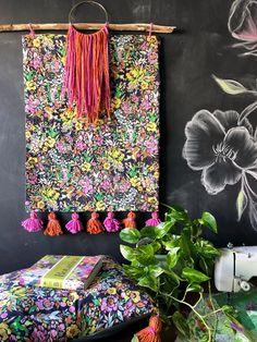 Bari J. boho wall hanging using Indigo and Aster fabrics by Bari J. for Art Gallery Fabrics