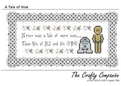 A Tale of Woe - R2D2 and C3PO - Star Wars Inspired PDF Cross Stitch Pattern. $5.00, via Etsy.