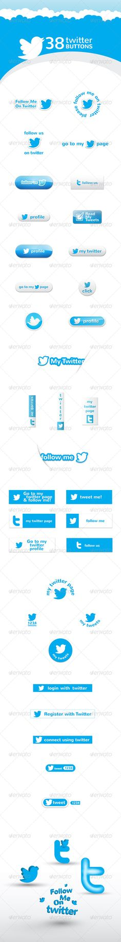 Twitter Buttons  #GraphicRiver             Twitter Buttons        Futures:   38 Buttons   Vector Ai and EPS files  Fully layered PSD file.   Transparent PNG's for web use.  PDF file included    We offer support act within 24 hours. Please feel free to contact us if you have any questions, we will be glad to help you.      Check my other files      Realistic Logo Mock-up          Skype Buttons                     Created: 5April13 GraphicsFilesIncluded: PhotoshopPSD #TransparentPNG #VectorEPS #AIIllustrator HighResolution: Yes Layered: Yes MinimumAdobeCSVersion: CS PixelDimensions: 600x400 Tags: buttons #clean #graphic #icons #messages #paper #psd #transparent #tweet #twitter #twitterbutton #twittermessages #twittertemplate #vector
