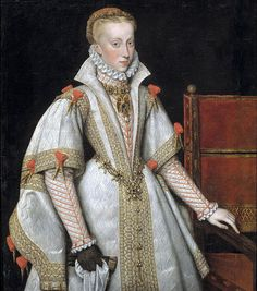 Anne of Austria, Queen of Spain (1549 - 80) Wife of Phillip II. By Bartolome Gonzalez y Serrano (1564 - 1627). A gorgeous portrait.