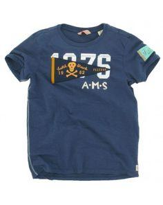 Scotch and Soda Shrunk jongens - T-shirt blauw