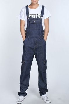 Casual Loose Fit Straight Leg Stereo Flap Pocket Zipper Fly Plus Size Denim Overalls For Men