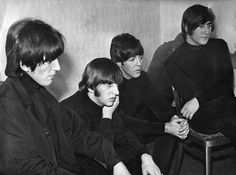 While the fans scream, the Beatles sit calmly backstage - watching themselves on television - before their appearance at the Odeon cinema, New Street, Birmingham, on October 1965 Paul Mccartney, Richard Starkey, Abc Studios, Les Beatles, Lonely Heart, The Fab Four, Ringo Starr, George Harrison, Great Bands