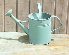 Vintage Green Galvanzied Watering Can by theindustrycottage on Etsy