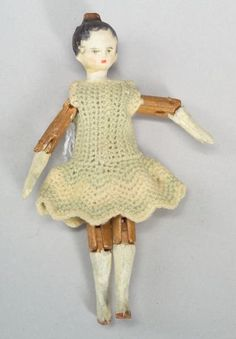 Tuck Wooden Grodnertal Doll, c. 1820s, gessoed an