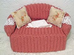 Cottage Crafts: Crocheted Sofa Tissue Box Cover with Pillows and Doilies