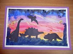 Dinosaur Silhouettes - another example.  Like the background colours on this one.