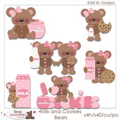 Milk and Cookies Teddy Bears PSD Templates by by marlodeedesigns, $5.00