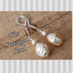 Vintage Baroque Glass Pearl and Rhinestone Earrings