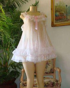 Lingerie Neljen Vintage Style Baby Doll Slip Dress - lots of Sissy PINK Ruffles Robe Baby Doll, Baby Doll Nighties, Baby Dolls, Baby Doll Pajamas, Reborn Dolls, Reborn Babies, Kawaii Fashion, Cute Fashion, Vintage Fashion