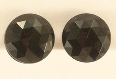 Small Black Faceted Plastic Round Clip On Earrings Made In Western Germany #Unmarked #Huggie
