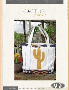 """""""Cactus Stone"""" Free Tote Bag Pattern designed & from Art Gallery Fabrics Tote Pattern, Bag Patterns, Sewing Patterns Free, Free Sewing, Garden Bags, Art Gallery Fabrics, Pattern Design, Totes, Cactus"""