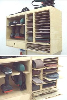 sand paper and sanders storage sand paper and sanders storage – Garage Organization DIY Garage Organization Tips, Garage Tool Storage, Workshop Storage, Workshop Organization, Diy Workshop, Garage Workshop, Workbench Plans Diy, Workbench Designs, Workbench Top