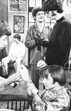The Monkees on the set of The Frodis Caper