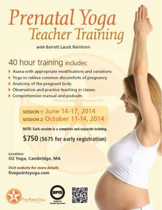 PRENATAL TEACHER TRAINING with Barrett at O2 Yoga Cambridge  We are excited to host Barrett Reinhorn and her Prenatal TT in June. Catch the info below and sign up at www.fivepointsyoga.com