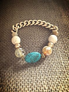 Turquoise and Natural Stone Chain Bracelet by AroundMyWrist, $15.00