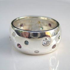 Diamonds and Sterling Silver Unisex Ring by JValentineJewelryCO