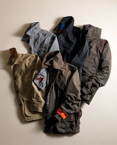 Photo Credit: John Lawton. Clockwise from left:The canvas Guide Work Jacket from Filson http://www.filson.com Relwen's Quilted Field Jacket http://relwen.com/ Best Made Company's Light Waxed www.bestmadeco.com Beretta's Forest Jacket www.berettausa.com Ball and Buck- Upland Jacket