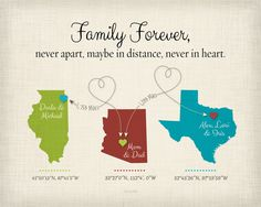 Long Distance Gift for Mom, Mothers Day Gift Idea, Birthday Gift for Mom, Family Gift Canvas, Long Distance Family Quote, Family Gift Print by KeepsakeMaps on Etsy