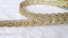 1.3cm Gorgeous Turquoise and gold braided lace trim for designing arts 1 metre
