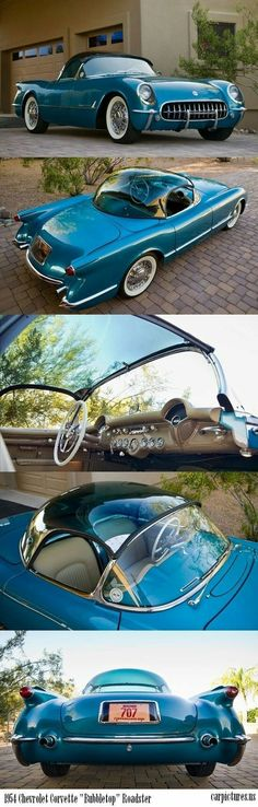 """1954 Chevrolet Corvette """"Bubbletop"""" Roadster - Rare-draw backs to the Bubble top! Drafty, noisy & leaky, the bubbletops magnified sunlight to make the Corvette cockpit unbearably warm. Chevrolet Corvette, Chevy, 1961 Corvette, Retro Cars, Vintage Cars, Antique Cars, Carros Vintage, Roadster Car, Old Trucks"""