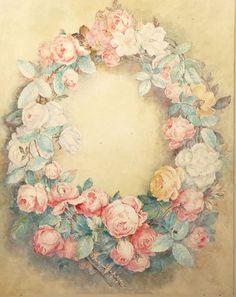 Pierre-Auguste RENOIR (1841-1919) Couronne de fleurs Aquarelle, porte une trace de signature et de date (1864) à droite, en bas. (Légèrement insolé) 60,5 x 47,5 cm C.M Provenance: Offert par Renoir à Marie-Zélie… - Rieunier & Associés - Olivier Rieunier et Vincent de Muizon - 12/10/2015