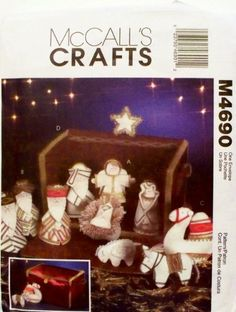 OOP McCalls Crafts Pattern or 11 Piece Nativity Collection, Mangers & Storage Box Christmas Patterns, Christmas Ornaments, Amazon Art, Sewing Stores, Craft Patterns, Nativity, Sewing Crafts, Storage, Holiday Decor