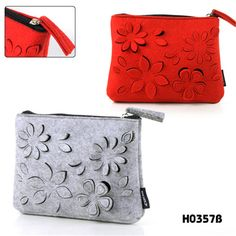2016 New Brand Felt Cosmetic Bag, Fashion Hollow-out functional bag/Make Up Bag,Quality&cheap coin organizer/cosmetic bags cases