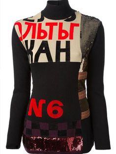 Jean Paul Gaultier constructivist sweater w/ appliqué lettering, Fall 1986, Constructivist collection.