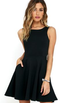 The next time you're packing a suitcase, the oh-so-versatile Wanderlust Black Skater Dress will be the first thing you'll want to bring along! Flattering princess seams lay below a rounded neckline and swooping back, while a knit skater skirt (with side-seam pockets) flares from a fitted waist. Hidden back zipper.