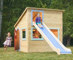 Childhood is a series of moments. Capture them in this one-story wooden playhouse. With modern architectural details, and the same outstanding quality you expect from all CedarWorks outdoor playsets, Playhouse 2 is the perfect kid's playhouse for every mo Modern Playhouse, Outside Playhouse, Childrens Playhouse, Build A Playhouse, Playhouse Ideas, Cedar Playhouse, Playhouse Slide, Wooden Playhouse With Slide, Wooden Outdoor Playhouse