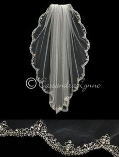 Scalloped Fingertip Veil with Teardrop Rhinestones and Beads