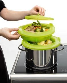Lekue - Zestaw do gotowania na parze, zielony. gotowanie na parze
