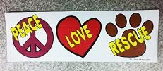 """PEACE LOVE RESCUE Magnet is approximately 2.75"""" x 7.5"""""""