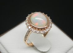 This is fabulous and amazing!  LOVE it!!    Engagement Ring   3 Carat Opal Ring With Diamonds by stevejewelry, $999.00