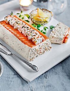 Scottish Lochmuir™ Salmon Terrine from M&S. Praise M&S putting food on our table! Fish Recipes, Seafood Recipes, Appetizer Recipes, Cake Sandwich, Charcuterie, Salmon Terrine, Order Food, Appetisers, Fish Dishes