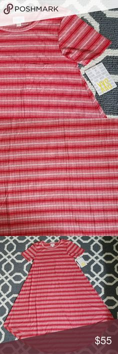 LulaRoe Carly Dress Pink/Red/White Striped XXS Brand new with tags, very soft!  Light pink, red, and white stripes LuLaRoe Dresses High Low