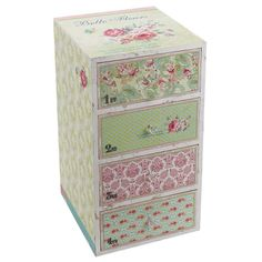Cute wooden #commode in pastel patchwork with roses www.inart.com