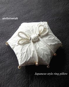 Hexagon shaped ring pillow with lace