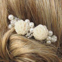 Peigne cheveux - Accessoires cheveux - perles et fleurs